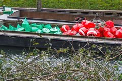 Red and green buoys on a ship Royalty Free Stock Photos