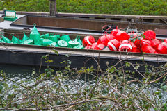 Red and green buoys on a ship Royalty Free Stock Image