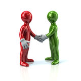 Red and green business men handshake. 3d illustration of red and green business men handshake Stock Photos