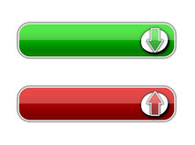 Red and green button. Webdesign. Uploading and downloading arrows Stock Images