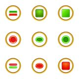 Red and green button icons set, cartoon style Royalty Free Stock Photo