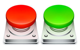 Red and green buttons. Stock Images