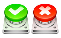 Red and green buttons. Royalty Free Stock Photography