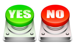 Red and green buttons. Big red and green buttons with words Yes and No Royalty Free Stock Images