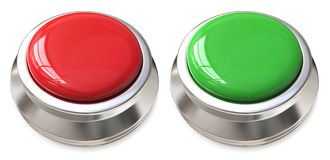 Red and green buttons. In chrome or silver frame against white Royalty Free Stock Images