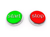 Red and green buttons over white Stock Photo