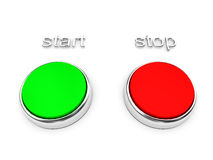 Red and green buttons over white Stock Images