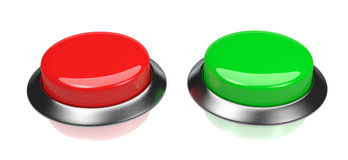 Red and Green Buttons Stock Photography