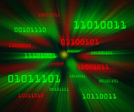 Red green bytes of binary code flying in a vortex Stock Photos