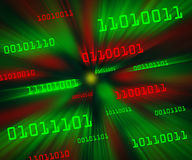 Red green bytes of binary code flying in a vortex Stock Images