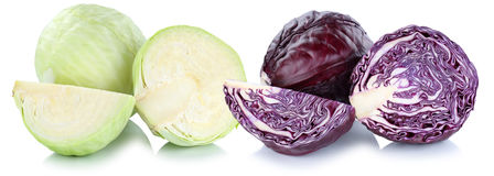 Red and green cabbage sliced slice vegetable isolated Stock Images