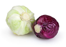 Red and green cabbages isolated on white Royalty Free Stock Images