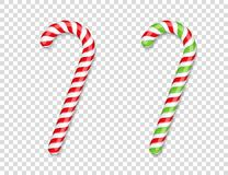 Red and Green Candy Canes. With shadows Stock Illustration