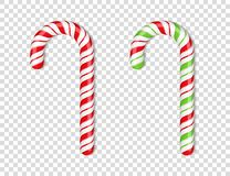 Candy Canes. Red and green candy canes on transparent background vector illustration