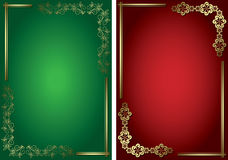 Red and green vector cards with golden frames. Eps 8 Stock Images