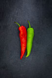 Red and green pepper on a slate. Red and green pepper on a gray slate Royalty Free Stock Image