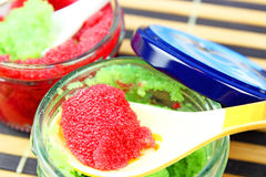 Red and green caviar. Royalty Free Stock Images