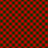 Red green check diagonal fabric texture seamless pattern Royalty Free Stock Photos