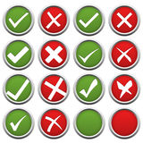 red and green check mark and cross Royalty Free Stock Photos