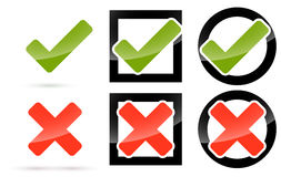 Red and green check mark and cross Royalty Free Stock Image