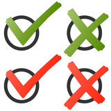 Red and green check marks and crosses Stock Photo