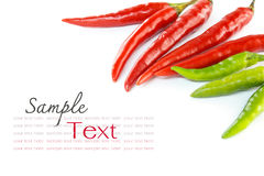 Red and green chili. Red and green chilli, for background Stock Images