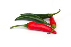 Red and green chili. On white background royalty free stock photo