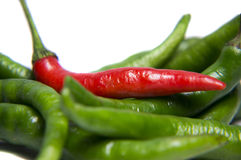 Red and green chili closeup. Closeup of red and green chilies on white background stock photo