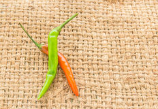 Red and green chili pepper on a sackcloth Stock Photography