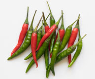 Red and green chili pepper. On a white background Royalty Free Stock Photography