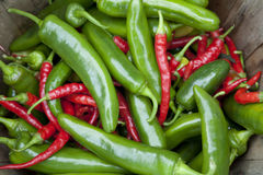 Red and Green Chili Peppers. A basket of red and green chili peppers displayed for sale at a farmer's market. Horizontal shot Royalty Free Stock Images