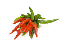 Red and green chili peppers Royalty Free Stock Photo