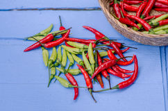 Red and green Chili Peppers in bowl on wooden background Stock Photo