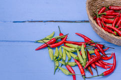 Red and green Chili Peppers in bowl on wooden background Stock Images