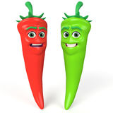Red and green  chili peppers Stock Photos