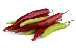 Red and green chili peppers Royalty Free Stock Image