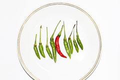Red green chili peppers isolated on white background Royalty Free Stock Photo