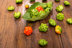 Red and green chili peppers Stock Photography