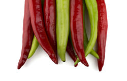 Red and green chili peppers Royalty Free Stock Images