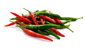 Red and Green Chili peppers on white background Royalty Free Stock Images