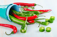 Red and green Chili Peppers Stock Images