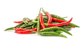 Red and Green chili. Group of Red and Green peppers isolated on white background. Close-Up, Selective focus Stock Photography