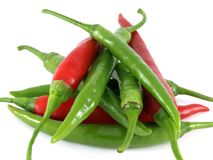 Red and green chilies Stock Photography