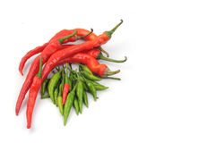 Red and green chilli. Isolated white background Royalty Free Stock Images