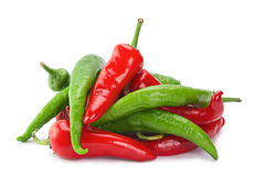 Red green chilli pepper on white Royalty Free Stock Photos