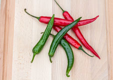 Red and green chilli peppers Royalty Free Stock Photography
