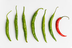 Red and Green chilli peppers ob white background Stock Photos