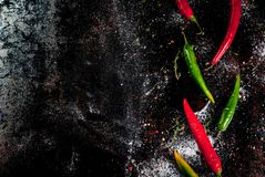 Red and green chilli peppers Stock Photography