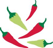 Red and green chilli peppers. Vector royalty free illustration