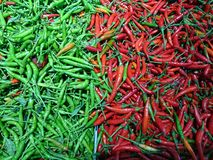 Red and Green chilli for sales​. Chilli for background Stock Photo